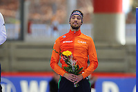 SPEED SKATING: INZELL: 04-12-2015, Max Aicher Arena, ISU World Cup, Podium 500m Men, B-division, Kjeld Nuis (NED), ©foto Martin de Jong
