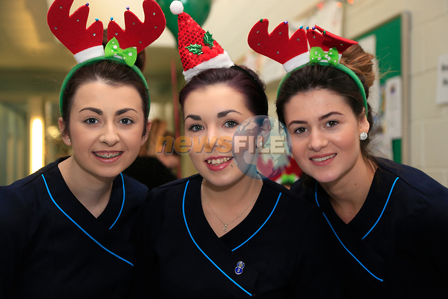 Lauren Kirk, Amy Traynor and Amy McHugh taking part in the Charity beauty blitz in DIFE.<br /> Picture www.newsfile.ie