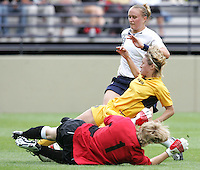 10 July 2005:  Christie Welsh of USA in action against Ukraine at Merlo Field at University of Portland in Portland, Oregon.    USA defeated Ukraine, 7-0.   Credit: Michael Pimentel / ISI