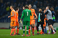 Liverpool's Virgil van Dijk celebrates with team mate Loris Karius at full time <br /> <br /> Photographer Craig Mercer/CameraSport<br /> <br /> UEFA Champions League Round of 16 First Leg - FC Porto v Liverpool - Wednesday 14th February 201 - Estadio do Dragao - Porto<br />  <br /> World Copyright &copy; 2018 CameraSport. All rights reserved. 43 Linden Ave. Countesthorpe. Leicester. England. LE8 5PG - Tel: +44 (0) 116 277 4147 - admin@camerasport.com - www.camerasport.com