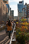 People walking on the Highline (public park on an old elevated train line) in New York City on a sunny winter day