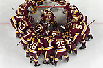 ST PAUL, MN - APRIL 7: The Minnesota-Duluth Bulldogs prepare to take on the Notre Dame Fighting during the Division I Men's Ice Hockey Semifinals held at the Xcel Energy Center on April 7, 2018 in St Paul, Minnesota. (Photo by (Photo by Carlos Gonzalez/NCAA Photos via Getty Images)
