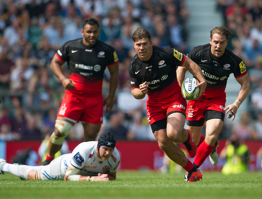 Schalk Brits of Saracens in action during todays match<br /> <br /> Photographer Ashley Western/CameraSport<br /> <br /> Rugby Union - Aviva Premiership Final - Saracens v Exeter Chiefs - Saturday 28th May 2016 - Twickenham Stadium, Twickenham, London  <br /> <br /> World Copyright &copy; 2016 CameraSport. All rights reserved. 43 Linden Ave. Countesthorpe. Leicester. England. LE8 5PG - Tel: +44 (0) 116 277 4147 - admin@camerasport.com - www.camerasport.com