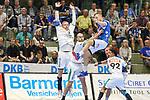 BHCs  (Nr.04)in der Luft gestoppt im Spiel der Handballliga, Bergischer HC - SC DHFK Leipzig.<br /> <br /> Foto &copy; PIX-Sportfotos *** Foto ist honorarpflichtig! *** Auf Anfrage in hoeherer Qualitaet/Aufloesung. Belegexemplar erbeten. Veroeffentlichung ausschliesslich fuer journalistisch-publizistische Zwecke. For editorial use only.