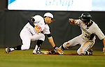 Maryland second baseman Brandon Lowe, left, applies the late tag to Michigan State's Cam Gibson (30) during the third inning of a Big 10 tournament baseball game in Minneapolis, Wednesday, May 20, 2015. Maryland defeated Michigan State 2-1. (Photo/Ann Heisenfelt)