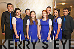 Taking part in the Kerry final of Kerry's got Talent at the Earl of Desmond on Friday night were Colaiste na Sceilge set dancers were l-r: Dararca Donoghue,  Casey O'Donoghue, Niamh Casey and Rebecca Galvin. Back l-r: Cathal O'Donovan, Padraig Casey, Brian Sugue and Cillain O'Donovan..