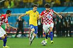 (L to R) <br /> Oscar (BRA), <br /> Vedran Corluka (CRO), <br /> JUNE 12, 2014 - Football /Soccer : <br /> 2014 FIFA World Cup Brazil <br /> Group Match -Group A- <br /> between Brazil 3-1 Croatia <br /> at Arena de Sao Paulo, Sao Paulo, Brazil. <br /> (Photo by YUTAKA/AFLO SPORT)