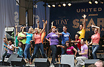 Cast of 'Mamma, Mia!' performing at United presents 'Stars in the Alley' in  Shubert Alley on May 27, 2015 in New York City.