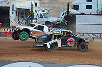 Mar. 20, 2011; Chandler, AZ, USA;  LOORRS pro two driver Jesse James (58) crashes into Pete Sohren (22)during round two at Firebird International Raceway. Mandatory Credit: Mark J. Rebilas-