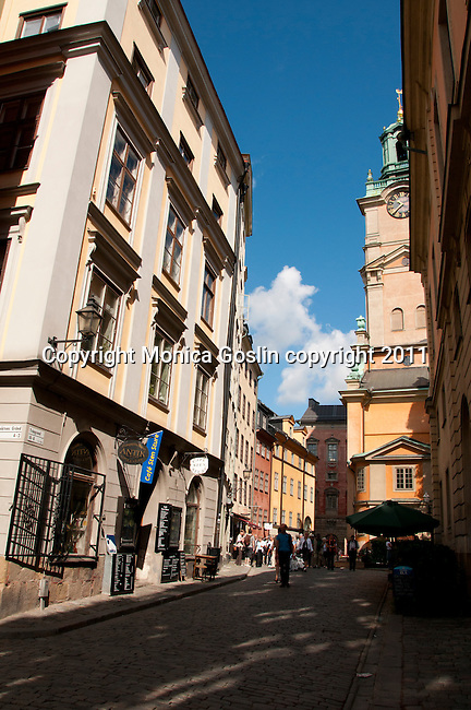 Old Town of Stockholm, Sweden with the Cathedral of Stockholm in the background
