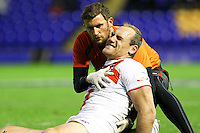 PICTURE BY ALEX WHITEHEAD/SWPIX.COM - Rugby League - International Origin Match - England vs Exiles - The Halliwell Jones Stadium, Warrington, England - 14/06/13 - England's Gareth Ellis screams in pain as he goes off injured.
