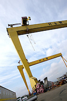 JOHANN MULLER VISITS HARLAND &amp; WOLFF BELFAST -    Wednesday 30th April 2014<br /> <br /> The Goliath and Samson cranes during their Harland &amp; Wolff shipyard in Belfast.<br /> <br /> Mandatory Credit - Photo by John Dickson - DICKSONDIGITAL