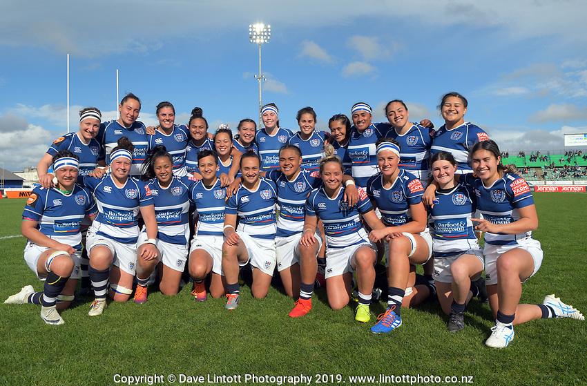 The Auckland team pose for a group photo after winning the Farah Palmer Cup women's rugby match between Manawatu Cyclones and Auckland Storm at CET Stadium in Palmerston North, New Zealand on Sunday, 29 September 2019. Photo: Dave Lintott / lintottphoto.co.nz