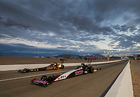 Oct 28, 2016; Las Vegas, NV, USA; NHRA top fuel driver Steve Torrence (near) alongside Tony Schumacher during qualifying for the Toyota Nationals at The Strip at Las Vegas Motor Speedway. Mandatory Credit: Mark J. Rebilas-USA TODAY Sports