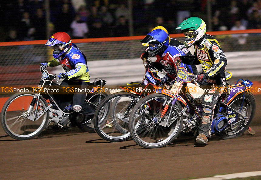 Heat 9 - Louis (red), Schlein (green), Lanham, Janniro - Lakeside Hammers vs Coventry Bees - Elite League Knockout Cup Semi-Final, 2nd Leg at Arena Essex - 06/10/07 - MANDATORY CREDIT: Gavin Ellis/TGSPHOTO. Self-Billing applies where appropriate. NO UNPAID USE. Tel: 0845 094 6026