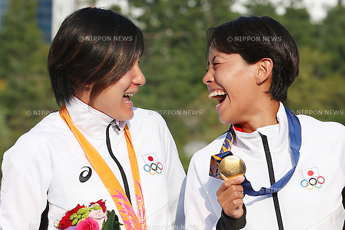 (L to R) Juri Ide, Ai Ueda (JPN), <br /> SEPTEMBER 25, 2014 - Triathlon : Women's Individual Medal Ceremony <br /> at Songdo Central Park Triathlon Venue <br /> during the 2014 Incheon Asian Games in Incheon, South Korea. <br /> (Photo by AFLO SPORT)