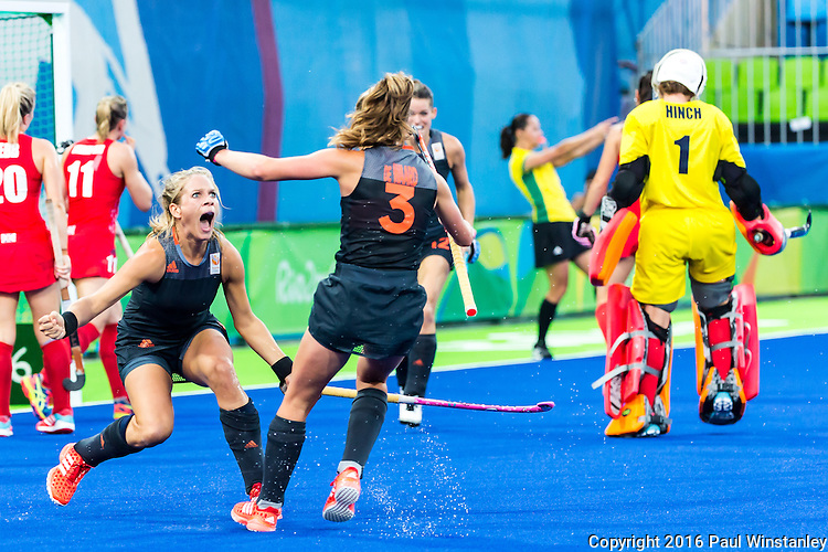 Kitty van Male #4 of Netherlands celebrates her goal joined by Xan de Waard #3 of Netherlands during Netherlands vs Great Britain in the gold medal final at the Rio 2016 Olympics at the Olympic Hockey Centre in Rio de Janeiro, Brazil.