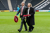 Fleetwood Town's chairman Andy Pilley with Milton Keynes Dons'  chairman Pete Winkelman before the wreath laying ceremony<br /> <br /> Photographer Andrew Kearns/CameraSport<br /> <br /> The EFL Sky Bet League One - Milton Keynes Dons v Fleetwood Town - Saturday 11th November 2017 - Stadium MK - Milton Keynes<br /> <br /> World Copyright &copy; 2017 CameraSport. All rights reserved. 43 Linden Ave. Countesthorpe. Leicester. England. LE8 5PG - Tel: +44 (0) 116 277 4147 - admin@camerasport.com - www.camerasport.com