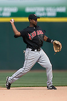 Indianapolis Indians shortstop Gookie Dawkins makes a throw to first base versus the Charlotte Knights at Knights Stadium in Fort Mill, SC, Sunday, August 13, 2006.