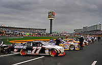 Oct. 17, 2009; Concord, NC, USA; The car driven by NASCAR Sprint Cup Series driver Sam Hornish Jr sits on the track prior to the NASCAR Banking 500 at Lowes Motor Speedway. Mandatory Credit: Mark J. Rebilas-