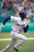 Kane County Cougars center fielder Anfernee Grier (10) runs to first base during a game against the South Bend Cubs on May 3, 2017 at Four Winds Field in South Bend, Indiana.  South Bend defeated Kane County 6-2.  (Mike Janes/Four Seam Images)