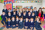 We're Class<br /> ----------------<br /> Junior infants of Abbeydorney NS pictured on their first day at school last Thursday with their teacher Ms Marguerite Ronan, they are, Sean O'Connell, Laois Walsh, Jayden McGrath-Hennessy, Sarag Moloney, Thomas Slattery, Edel Costello, Jack Hickey, Nora O'Mahony, Ava Fealy, Cormac Lawlor, Mia Costelloe, Kieran Fealy, Teah Walsh, Aaron Donovan, Adam O'Halloran, Mollie Sexton, Hanna O'Connell, niamh O'Connor, Abigail Villones, Benjamin Clifford, Emma O'Sullivan, Rosie Stack-Patton, Hannah Costelloe