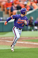 Clemson Tigers right fielder Weston Jackson (15) runs to first base during a game against the Notre Dame Fighting Irish at Doug Kingsmore Stadium on March 11, 2017 in Clemson, South Carolina. The Tigers defeated the Fighting Irish 6-5. (Tony Farlow/Four Seam Images)