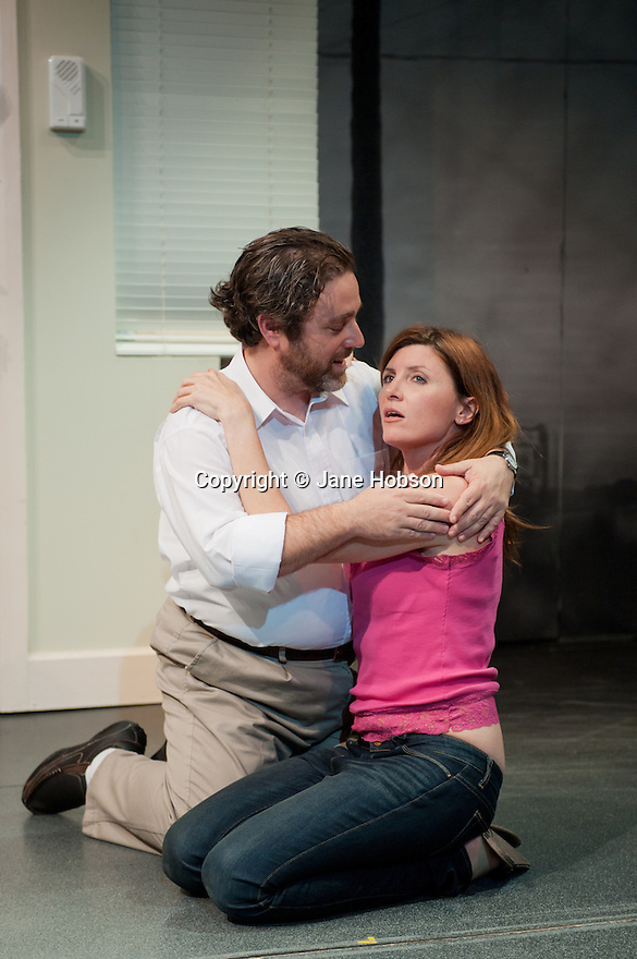 "London, UK. 28/09/2011. ""Terrible Advice"" by Saul Rubinek opens at the Menier Chocolate Factory. Starring Caroline Quentin, Scott Bakula, Andy Nyman and Sharon Horgan. L to R: Andy Nyman (as Stinky/Stanley) and Sharon Horgan (as Delila).  Photo credit: Jane Hobson"