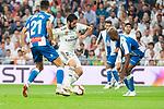 Real Madrid Francisco Alarcon 'Isco' and RCD Espanyol Marc Roca and Naldo Gomes during La Liga match between Real Madrid and RCD Espanyol at Santiago Bernabeu Stadium in Madrid, Spain. September 22, 2018. (ALTERPHOTOS/Borja B.Hojas)