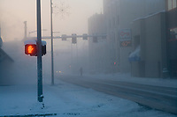 Ice fog in downtown Fairbanks, Alaska on a winter day with minus 40 degree temperatures.