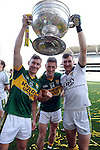 Legion players James O'Donoghue, Jonathon Lyne and Brian Kelly  celebrate in the All-Ireland Football Final  in Croke Park 2014.<br /> Photo: Don MacMonagle<br /> <br /> <br /> Photo: Don MacMonagle <br /> e: info@macmonagle.com