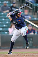 Gwinnett Braves shortstop Diory Hernandez #24 at bat during a game against the Rochester Red Wings at Frontier Field on May 5, 2011 in Rochester, New York.  Rochester defeated Gwinnett by the score of 3-2.  Photo By Mike Janes/Four Seam Images