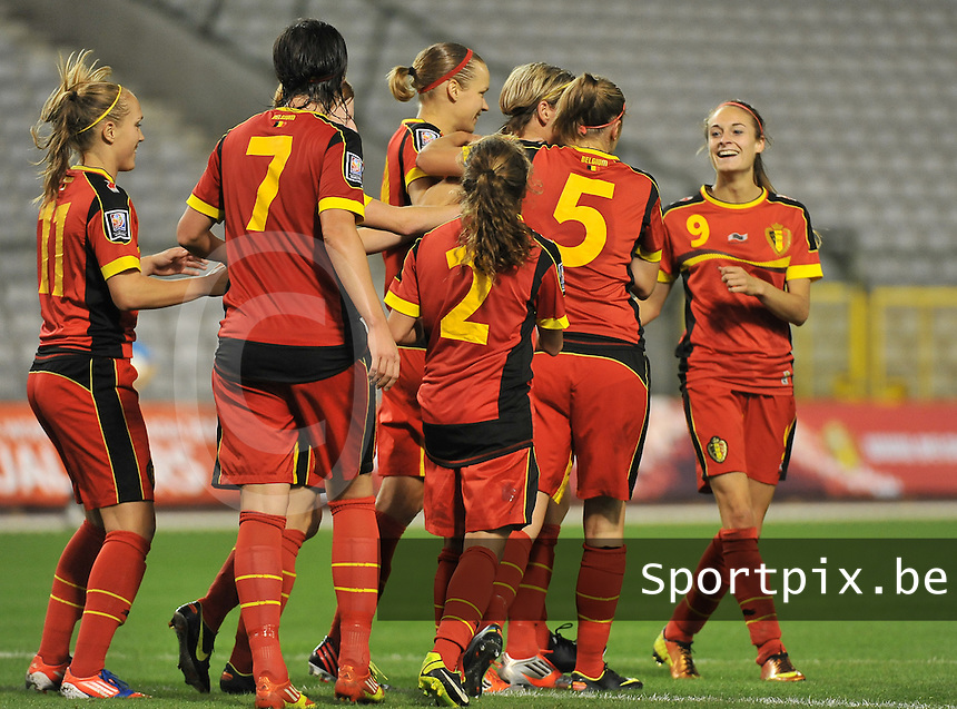 20130921 - BRUSSELS , BELGIUM : Belgium pictured celebrating their 2-0 lead with Belgian Tessa Wullaert (9) celebrating during the female soccer match between Belgium and Albania , on the first matchday in group 5 of the UEFA qualifying round to the FIFA Women World Cup in Canada 2015 at the Koning Boudewijn Stadion , Brussels . Saturday 21th September 2013. PHOTO DAVID CATRY