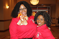 NWA Democrat-Gazette/CARIN SCHOPPMEYER Rickell Hardaway and Marci Early enjoy Delta Sigma Theta benefit luncheon.