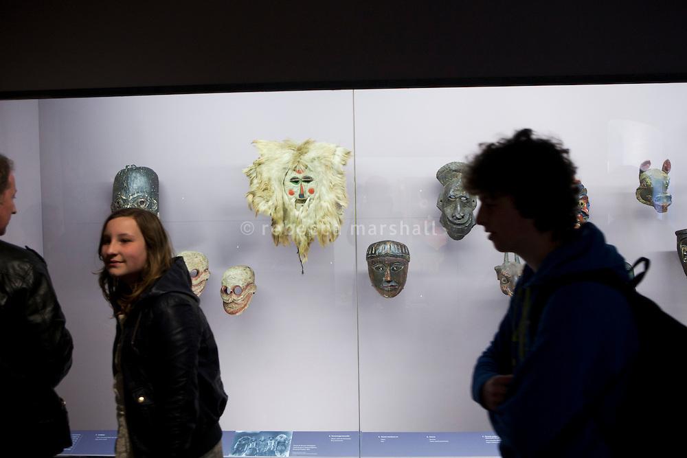 Masks on display at the Musée de la Castre, Le Suquet, Cannes, France, 3 April 2013