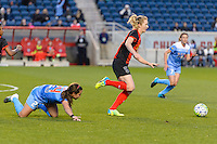 Bridgeview, IL, USA - Saturday, April 23, 2016: Western New York Flash midfielder Samantha Mewis (5) during a regular season National Women's Soccer League match between the Chicago Red Stars and the Western New York Flash at Toyota Park. Chicago won 1-0.