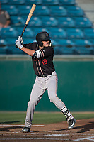 Modesto Nuts first baseman Evan White (18) at bat during a California League game against the San Jose Giants at San Jose Municipal Stadium on May 15, 2018 in San Jose, California. Modesto defeated San Jose 7-5. (Zachary Lucy/Four Seam Images)