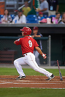 Auburn Doubledays shortstop Max Schrock (9) at bat during a game against the Mahoning Valley Scrappers on September 4, 2015 at Falcon Park in Auburn, New York.  Auburn defeated Mahoning Valley 5-1.  (Mike Janes/Four Seam Images)
