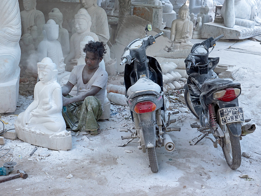 Marble and stone Buddha manufacturing in Mandalay, Myanmar, Burma.