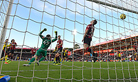 The shot from Roberto Pereyra of Watford hits the back of the net for the third goal despite the efforts of Ryan Fraser of Bournemouth on the line during AFC Bournemouth vs Watford, Premier League Football at the Vitality Stadium on 12th January 2020