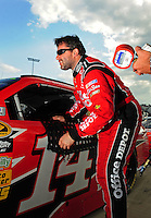 May 1, 2009; Richmond, VA, USA; NASCAR Sprint Cup Series driver Tony Stewart during qualifying for the Russ Friedman 400 at the Richmond International Raceway. Mandatory Credit: Mark J. Rebilas-