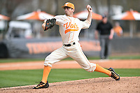 Tennessee Volunteers pitcher Andy Cox (46) delivers a pitch during game one of a double header against the UC Irvine Anteaters at Lindsey Nelson Stadium on March 12, 2016 in Knoxville, Tennessee. The Volunteers defeated the Anteaters 14-4. (Tony Farlow/Four Seam Images)