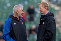 Bath Rugby's Head Coach Todd Blackadder talks to Leinster's Head Coach Leo Cullen<br /> <br /> Photographer Bob Bradford/CameraSport<br /> <br /> Heineken Champions Cup Pool 1 - Bath v Leinster - Saturday 8th December 2018 - The Recreation Ground - Bath<br /> <br /> World Copyright © 2018 CameraSport. All rights reserved. 43 Linden Ave. Countesthorpe. Leicester. England. LE8 5PG - Tel: +44 (0) 116 277 4147 - admin@camerasport.com - www.camerasport.com