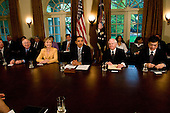 Washington, D.C. - April 20, 2009 -- United States President Barack Obama holds his first Cabinet meeting in the Cabinet Room of the White House in Washington, D.C. on Monday, April 20, 2009.  From left to right:  Secretary of Interior Ken Salazar; Secretary of State Hillary Rodham Clinton; The President; Secretary of Defense Robert Gates; Secretary of Veterans Affairs Eric Shinseki..Credit: Ron Sachs / Pool via CNP