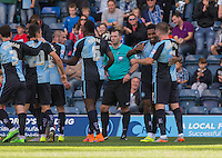 Celebrations as Jason Banton (2nd right) of Wycombe Wanderers scores to make it 1-1 during the Sky Bet League 2 match between Wycombe Wanderers and Plymouth Argyle at Adams Park, High Wycombe, England on 12 September 2015. Photo by Andy Rowland.