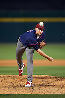 Lehigh Valley IronPigs relief pitcher Phil Klein (48) delivers a warmup pitch during a game against the Buffalo Bisons on July 9, 2016 at Coca-Cola Field in Buffalo, New York.  Lehigh Valley defeated Buffalo 9-1 in a rain shortened game.  (Mike Janes/Four Seam Images)