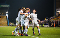 Celebrations as Scott Kashket of Wycombe Wanderers scores to equalise during the The Checkatrade Trophy  Quarter Final match between Mansfield Town and Wycombe Wanderers at the One Call Stadium, Mansfield, England on 24 January 2017. Photo by Andy Rowland.