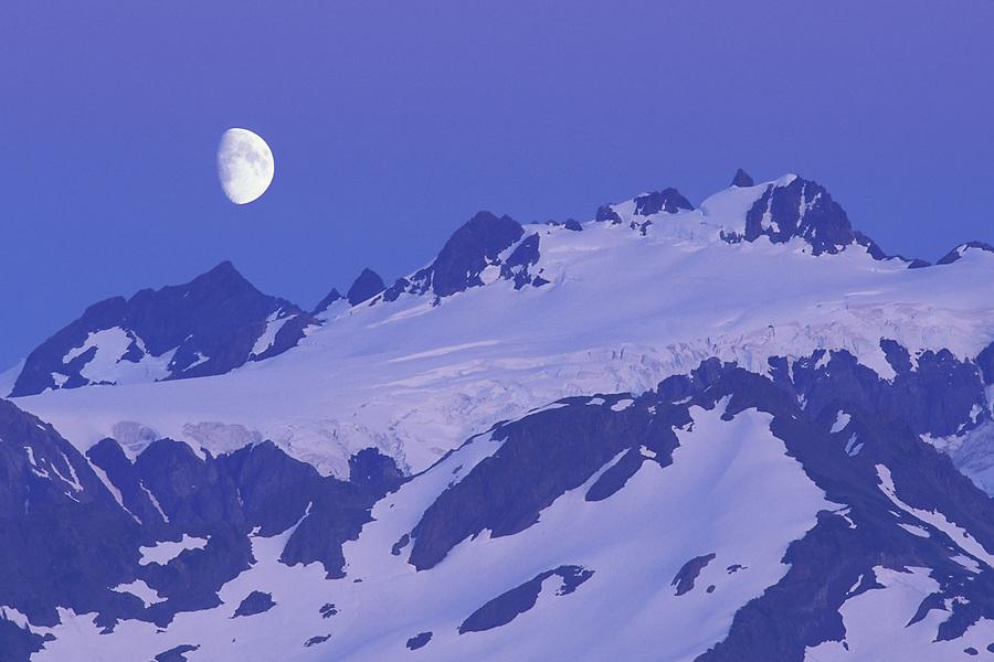 Moon over Mount Olympus at dusk, Olympic National Park, Washington