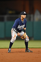 Mississippi Braves shortstop Gustavo Nunez (4) during a game against the Montgomery Biscuits on April 21, 2014 at Riverwalk Stadium in Montgomery, Alabama.  Montgomery defeated Mississippi 6-2.  (Mike Janes/Four Seam Images)