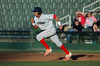 Daniel Brito (21) of the Lakewood BlueClaws takes off for second base during the game against the Kannapolis Intimidators at Kannapolis Intimidators Stadium on April 8, 2017 in Kannapolis, North Carolina.  The BlueClaws defeated the Intimidators 8-4 in 10 innings.  (Brian Westerholt/Four Seam Images)